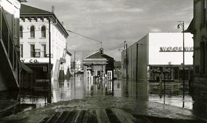 High water in 1959 flooded Front Street in Fremont.