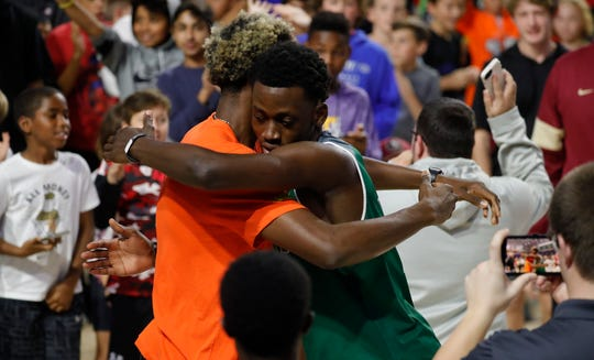 Players competed in the 2019 Culligan City of Palms Dunk Contest Sunday evening, December 22, at Suncoast Credit Union Arena. Malachi Wideman, of Venice High School, won the overall contest after a showdown against Hamilton Height's Samson Ruzhentsev.