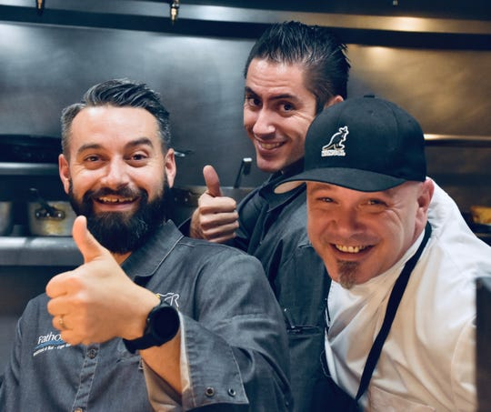 Chefs Ben Voisin, left, Fabrice Deletrain, center, and newcomer John Hill of Gather in Cape Coral.