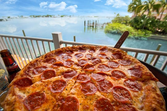 The pizza from Petey's Upper Deck at Matanzas on the Bay has been called the best on Fort Myers Beach.