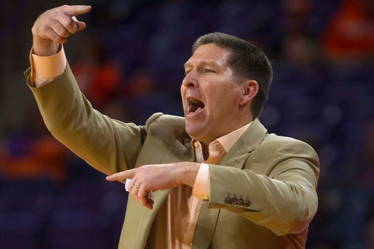 Dec 22, 2019; Clemson, South Carolina, USA; Clemson Tigers head coach Brad Brownell reacts during the second half of the game against the Yale Bulldogs at Littlejohn Coliseum. Mandatory Credit: Joshua S. Kelly-USA TODAY Sports