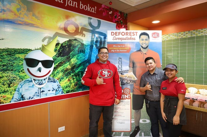 Jack in the Box awarded the grand prize of their DeForest Buckner Sweepstakes to Kaimana Terlaje, a resident of Guam. Terlaje won a trip for two to San Francisco to meet NFL Pro Bowler, DeForest Buckner, and watch the 49ers take on the Falcons at Levi Stadium on Dec. 15.