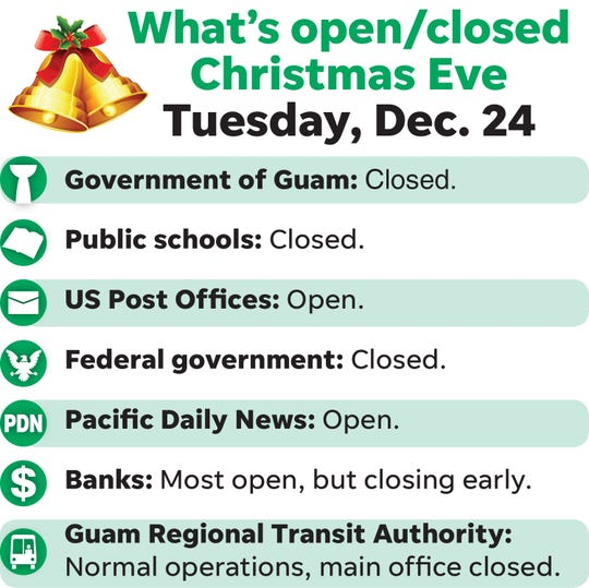 Here's what's open, closed for Christmas Eve.