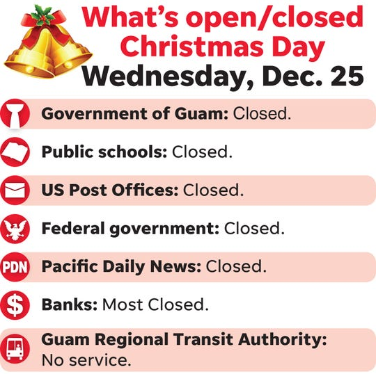 Here's what's open, closed for Christmas.