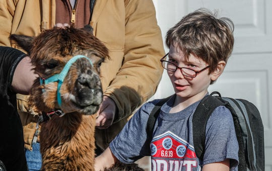 Joey Johnson meets his first alpaca at his family's Indianapolis home on Monday, Dec. 23, 2019. Joey, 9, and his sister live with incurable genetic disorders, and his Christmas wish this year was to donate toys and other items to children around the world through the World Vision Gift Catalog, which World Vision and private donors helped to make a reality. The alpacas were provided for the surprise by Montrose Farms Alpaca Ranch, and symbolize the animals that will be given as part of the gifts to needy families around the world.