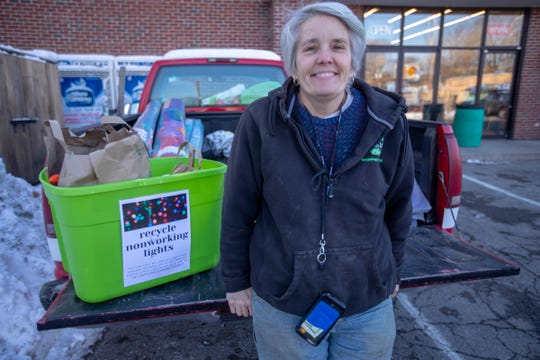 Mary Stumpp runs the Can Lady Project, a local recycling effort that this time of year, is collecting old holiday lights that will be broken apart for their copper and turned into cash for donation, Thursday, Dec. 19, 2019.