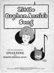 """Here is the sheet music cover for the """"Little Orphan Annie"""" radio show theme song in 1931. Note that one of the show's sponsors was Ovaltine, the classic kids' beverage of the day."""