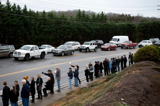 Protesters gathered at Northshore Dr. and Keller Bend Rd. to protest against Jacobs Engineering on Monday, December 23, 2019. Jacobs Engineering, which has a local office nearby, is accused in lawsuits in U.S. District Court of failing to protect hundreds of workers who cleaned up the 2008 coal ash spill.