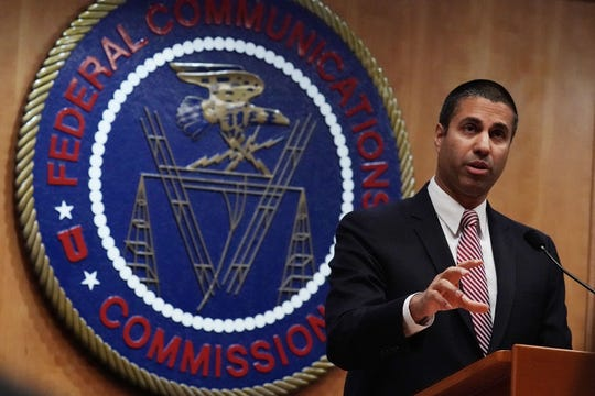 WASHINGTON, DC - DECEMBER 14:  Federal Communications Commission Chairman Ajit Pai speaks to members of the media after a commission meeting December 14, 2017 in Washington, DC. FCC has voted to repeal its net neutrality rules at the meeting.  (Photo by Alex Wong/Getty Images)