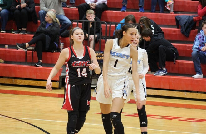 Ta'Ziah Jenks of Mercy (right) and Kennedy Igo of GRC (left) during Sunday's Queen of the Commonwealth matchup.