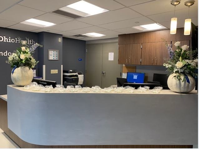 OhioHealth is investing $46.15 million in upgrades to facilities at the Marion Medical Campus and Marion General Hospital. This photo shows the main desk of the new $3 million endoscopy unit that opened in August 2019. OhioHealth officials said the new unit will allow more patients to stay in county to receive care.
