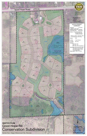 The village of Menomonee Falls could get another single-family development atthe Schmitz farm,N72 W18211 Good Hope Road, if the village board approves. The proposal for the residential development calls for 210 homes with lot sizesranging from 4,500 square feet to 26,113 square feet.