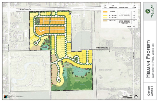 Veridian Homes is proposing to build 210 residential single-family homes zoned for R-7 at the former Helman's Driving Range & Mini Golf facility. The lot size would vary, from 4,500 square feet to 25,036 square feet.