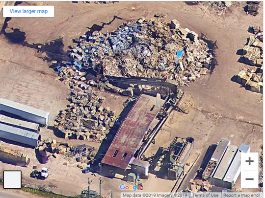 aerial view of the pallet and box company on Google maps
