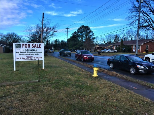 This property for sale sign shows where the Murfreesboro City Council authorized staff to pursue 5.4 acres for a future bus transit office off New Salem Highway and Bridge Avenue.