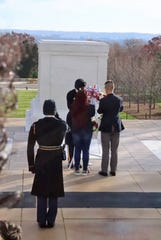 Fairview High's Jackson Turner (right) lays a wreath at the Tomb of the Unknown Soldier in Washington, DC.  December 2019.