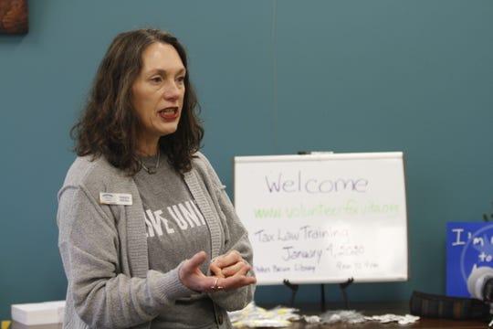 Tamara Kreigh, regional coordinator, helps launch the United Way Volunteer Income Tax Assistance (VITA) program to Springfield on Saturday, Dec. 21, 2019.