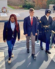 Fairview High's own Jackson Turner (center) was selected to lay a wreath at the Tomb of the Unknown Soldier.December 2019.