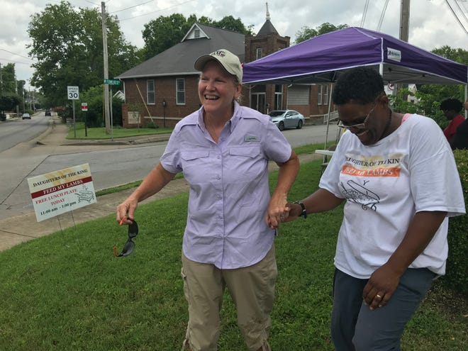 Franklin natives Carol Warren and Tracye Tucker have been friends since first grade. Warren, a member of Historic Franklin Presbyterian Church, partnered with Tucker's nonprofit, Daughters of the King during its summer feeding program, Feed My Lambs, in July.