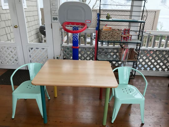 The children's Pottery Barn table came from This 'N That thrift shop and the chairs from a sale at St. Paul's Episcopal Church in Franklin. And yes, the basketball goal in the background was a thrift find, too, from Noah's Closet thrift shop in Pegram.
