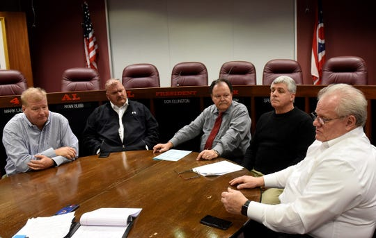 Newark Mayor Jeff Hall (right) discusses his third term plans, joined by his cabinet (from left): Service Director Dave Rhodes, Safety Director Steve Baum, Human Resources Director Mike Buskirk and Development Director Mark Mauter.
