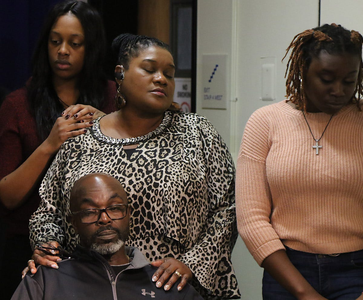 Bassania Daley and Laverne, Victor and Aliyah Butler, the sisters and parents of Sarah Butler, attend a Dec. 23, 2019 press conference in Newark after Khalil Wheeler-Weaver's conviction.