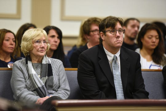 Hudy Muldrow, the driver in a bus crash that left a Paramus student and teacher dead in 2018, plead guilty to reckless vehicular homicide and assault by auto in Morris County Courthouse on December 23, 2019. Dolores Williamson, mother Paramus teacher Jennifer Williamson killed in the crash, and her son Doug Williamson attend the hearing.