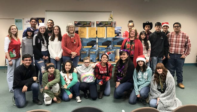 Students in Rachel Bailey's Language Arts Class helped donate 16 twin-size air mattresses to Transforming Luna County, a nonprofit that helps those in need in the community.