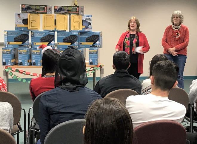 Sue Holdridge of Transforming Luna County (TLC) talks to Deming Early College High School students on the importance of their donation is the families in Luna County.