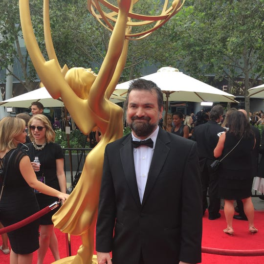 Salcido makes his way down the red carpet at the 67th Emmy awards.