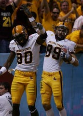Derek Hagan (80) held Pac-12 and ASU receiving records after his 2002-05 career then played for nine years in the NFL.