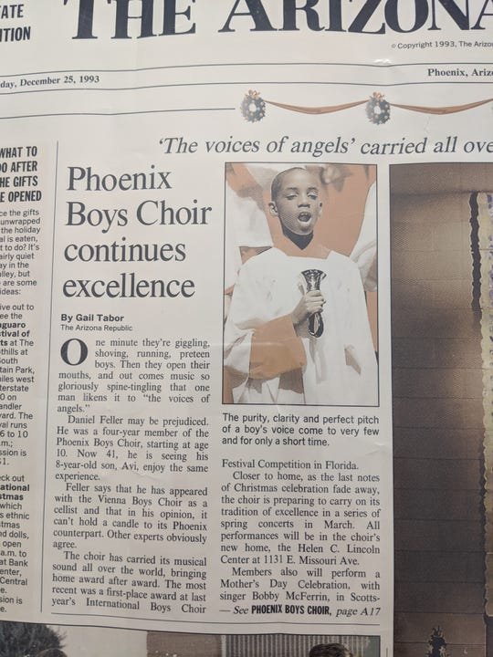 Herbert Washington was 12 when he appeared in a photograph to illustrate a story about the Phoenix Boys Choir on the front page of The Arizona Republic on Dec. 25, 1993.