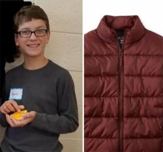 Harley Dilly was last seen  wearing a maroon puffy jacket, similar to the one pictured here. Anyone with information regarding the case is asked to contact the Port Clinton Police Department.