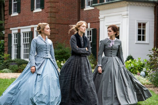 "From left, Florence Pugh, Saoirse Ronan and Emma Watson star in ""Little Women."" The movie opens Wednesday at Regal West Manchester, Queensgate Movies 13 and R/C Hanover Movies."