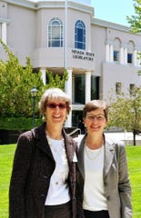 Grace Nichols and Heather Goulding outside of the Nevada State Legislature.