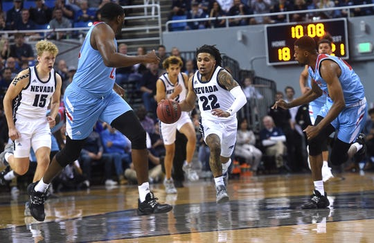 Nevada's Jazz Johnson (22) has been one of the nation's best long-range shooters through the first half of the season.