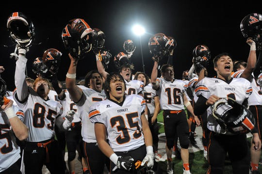 Fernley celebrates after defeating Fallon to win the NIAA 3A state championship game in Carson City on Nov. 23, 2019.