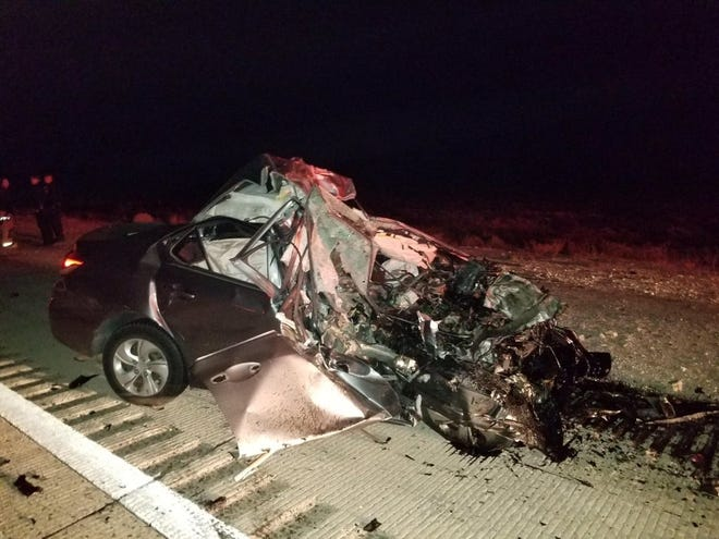 The Nevada Highway Patrol tweeted out this picture of the car that was traveling in the wrong lane and crashed with a tractor-trailer Saturday on Interstate 15 near Jean, killing its driver.