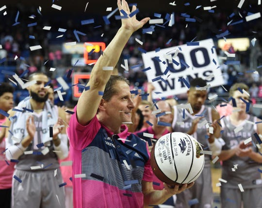 Nevada's head coach Eric Musselman celebrates his 100th win after Wednesday's game against Colorado State at Lawlor Events Center on Jan. 23, 2019 in Reno, Nev.