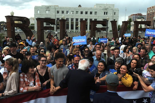 Senator Bernie Sanders greets supporters during a campaign rally in City Plaza in downtown Reno on May 29, 2019.