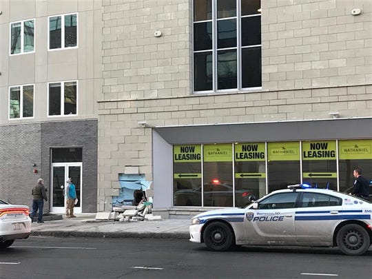 The Nathaniel building at Court Street and South Avenue was damaged when a vehicle crashed into the side of the building on Monday, Dec. 23, 2019.