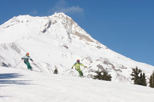 Ryan Coussens & Kathi Williams ski Shooting Star Ridge at Mount Hood Meadows.