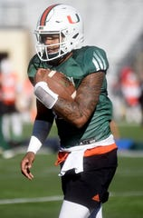 Miami Hurricanes practice at Independence Stadium in Shreveport on Monday, Dec. 23, 2019 (Val Horvath Davidson/Special to The Times).