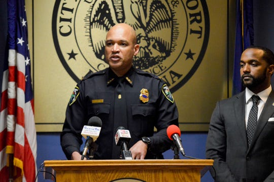 Shreveport police deputy chief Antoine White, center, speaks to the media on Monday, Dec. 23, 2019, during a news conference regarding a recent three-day police operation which resulted in the arrest of nearly 100 people in connection to roughly 140 crimes.