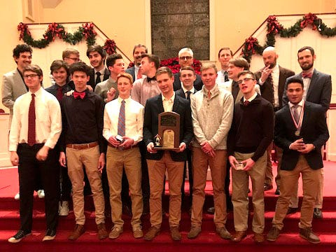 The 2019 Robert E. Lee boys soccer team received their state championship rings Friday night at a ceremony in Staunton's Memorial Baptist Church.