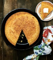 Classic Southern cornbread, made in a cast-iron skillet, is a true Southern staple and perfect with collards.