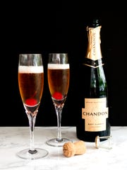 Raise your glass and bid farewell to 2019 and welcome in 2020 with Kir Royale,  a classic French champagne cocktail consisting of crème de cassis and champagne.