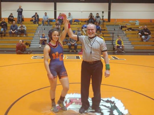 Horace Greeley senior Isabella Garcia won the 106-pound division at the Pawling Round Robin Tournament on Saturday, Dec. 21, 2019.