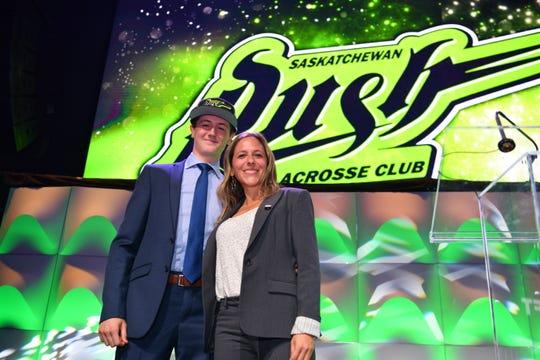 Cameron Dunkerley Third Round 42nd Selection Saskatchewan Rush with Jessica Berman