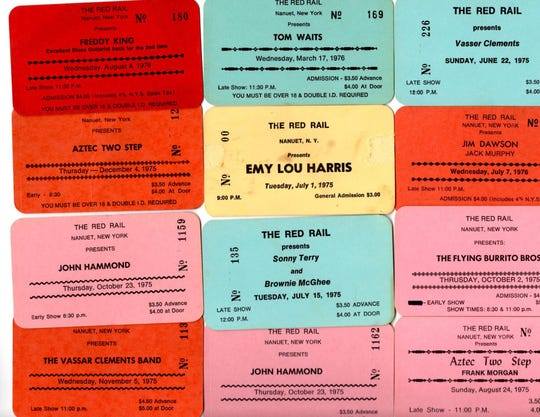 Tickets from some of the performers who took the stage at The Red Rail in the 1970s.